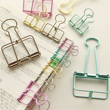 Unique Solid Color Hollow Out Metal Binder Clips Notes Letter Paper Clip HLCA