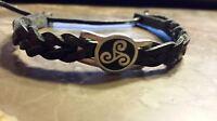 Irish Pewter Black Leather Triskele Woven Adustable Bracelet