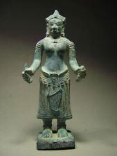 KHMER BRONZE FEMALE DEITY FIGURE, ANGKOR WAT 'BAYON' STYLE, CAMBODIA 17th C.