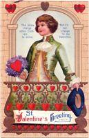 Valentine~CLAPSADDLE~VICTORIAN GENTLEMAN HOLDS HEART TOKEN~Emboss IAPC Postcard