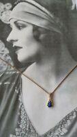 Vintage Avon Lapis Lazuli & Diamante Gold Plated Pendant Necklace