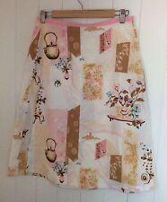 Vintage Handmade A-line Wrap Skirt Pink & White Floral Print Cotton Size M 10-12
