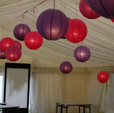 9x 30cm red purple paper lanterns+9 led lights wedding birthday venue decoration