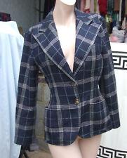 Ralph Lauren Stunning Classic Navy Blue True Vintage Checked Blazer Wool Jacket