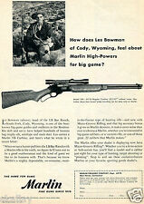 1956 Print Ad of Marlin Model 336-30/30 Carbine Les Bowman LB Bar Ranch Cody WY