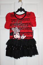 Disney Jr. Dress Sz 5 Minnie Mouse Miss Diva Short Sleeve Glitter Ruffle Blue