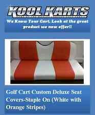 Ez-Go Txt Golf Cart Front Seat Replacement & Deluxe Covers Set(White/Orange Str)