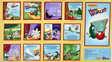 Q T~ Veggie Tales ~ How in the World ~ 100% Cotton Fabric Soft Book Panel