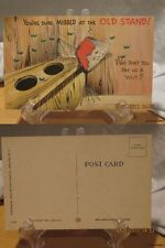 1940'S Linen Comic Color Postcard-You're Sure Missed at the Old Stand-#500