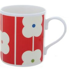 Orla Kiely Bone China Mug - Red Abacus Design. White china tea or coffee cup