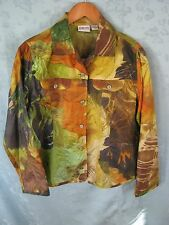 Chicos Size 0 (4) 100% Silk Blouse Tropical Print