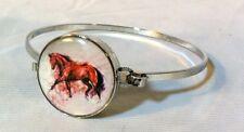 "Silver Metal 7"" Snap Bracelet Horse Snap Bay Horse Trotting 18-20Mm Bubbles!"