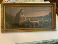 Vintage Jesus Christ Good Shepherd Holding Lamb Print In Gesso On Wood Frame