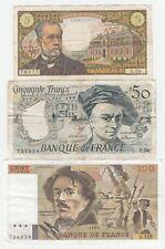 Banque France lot 3 billets 5 + 50 + 100 F Pasteur, Delacroix /  Set of 3 notes