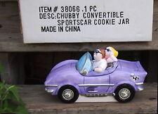 Purple Car Cookie Jar Ceramic Cruisin Couple in Convertible / Chubby Sportscar