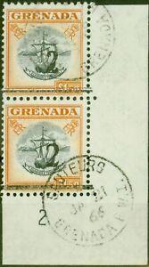 Grenada 1965 2 on $1.50 Black & Orange Setting A & B in a V.F Postally Used V...