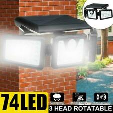 74LED 3 Head Security Detector Solar Spot Light Motion Sensor Floodlight I6Y1