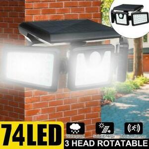 74LED 3 Head Security Detector Solar Spot Light Motion Sensor Floodlight I6Y1