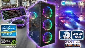 PC Gamer Core i7, GTX 1050ti 4Go, 16Go Ram, 240 Go SSD, 1 To Disk Dur Windows 10