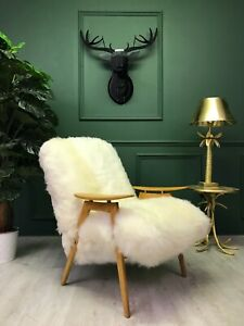 Vintage Antique Art Deco White Sheepskin Fluffy Bentwood Chair Armchair by Ton