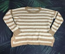 Madewell Beige Ivory Striped Longsleeve Crew Neck High- Low Sweater - S