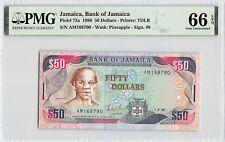 Jamaica 1988 P-73a PMG Gem UNC 66 EPQ 50 Dollars