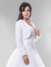 NEW Ivory Faux Fur Bolero Shrug Wedding Jacket Long Sleeve - Various Sizes - BM