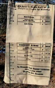 vtg Oklahoma State Highway Laboratory heavy Canvas Ore Sample Bag Geology
