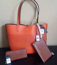 cbcc65c5c9 NWT Ralph Lauren Littlebury Brown Orange Reversible Tote Handbag Purse    Wallet