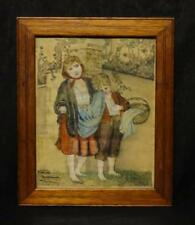 Antique Folky Watercolor Painting of Children Signed & Dated Nice!