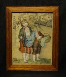 Antique Folky Watercolor Painting of Children Signed & Dated Nice
