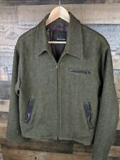 Billy Ried Wool Leather Accent Bomber Zip Up Jaclet Green Sz S AO28