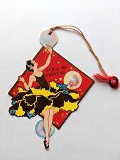 Vintage Bridge Game Tally -- Art Deco Woman Dancing w/ Bubbles