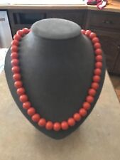 "Vintage Orange Lucite Bead Necklace Retro Boho Hippie 1970's 24"""