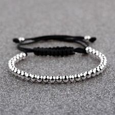 Luxury Men Silver Plated Micro Pave CZ Ball Crown Braided Bracelets Copper Beads