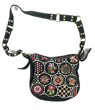 ISABELLA FIORE NORDICA FOLKLORE SEUDE EMBELLISHED EMBROIDERED CROSSBODY PURSE