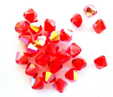 25 Lt Siam AB Swarovski # 5328 Crystal Bicone Beads 6MM