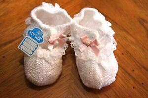 Will'beth Infant Newborn Reborn Girl Baby Booties w/Pink Bows & Lace