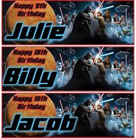 2 x personalised Star wars birthday banner jedi space kids children party banner
