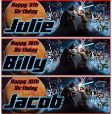 2 x personalised Star wars birthday banner jedi space kids children party banner