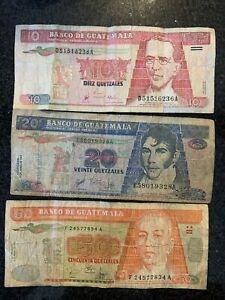 10 20 50 Banco De Guatemala 1998 1999 2001 Quetzales Lot Currency Money Cash