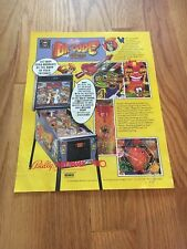 Bally/Midway Dr. Dude and his Excellent Ray Pinball Machine Flyer, 1990 NOS