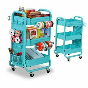 3-Tier Utility Storage Rolling Cart with Removable Pegboard & Extra Storage