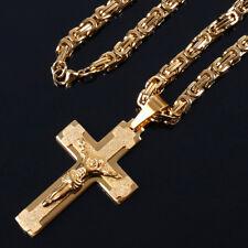 Edelstahl Königs Panzer Kette 2710 Kreuz Jesus Anhänger Massiv 60 Gold Vergoldet