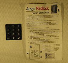 Aegis Padlock Keypad Pad and Quick Start Guide !!!