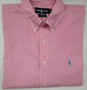 Mens RALPH LAUREN Pink/White Gingham Short Sleeve Button Shirt - XL - NEW NWOT