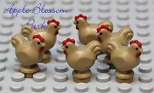NEW Lego Lot/6 Minifig Dark TAN CHICKEN - Farm Bird Hen Chick Animal Minifigure
