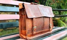New  Vintage Brown Leather mens  satchel Messenger Shoulder Laptop suitcase Bag