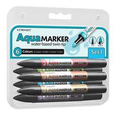 LETRASET twin tip Aquamarker 6 Stylo Marqueur Aqua proMarker set 1
