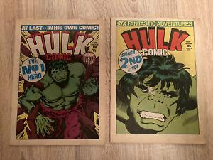 Lot 2 BD Hulk Comic Marvel No 1 et 2 En Anglais - 1979 - Stan Lee